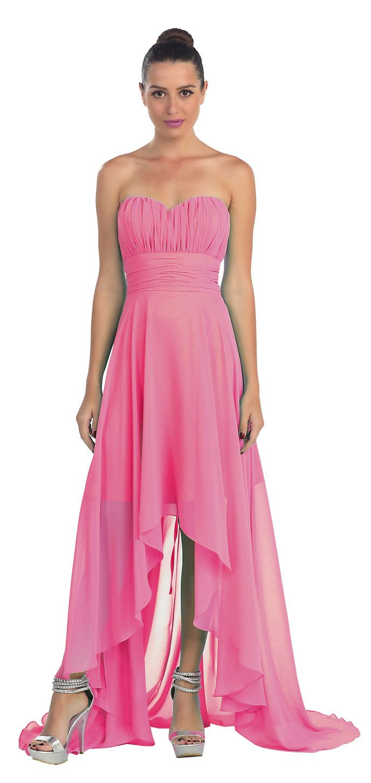 Fuchsia Bridesmaid High Low Dress A Line Chiffon Sweetheart