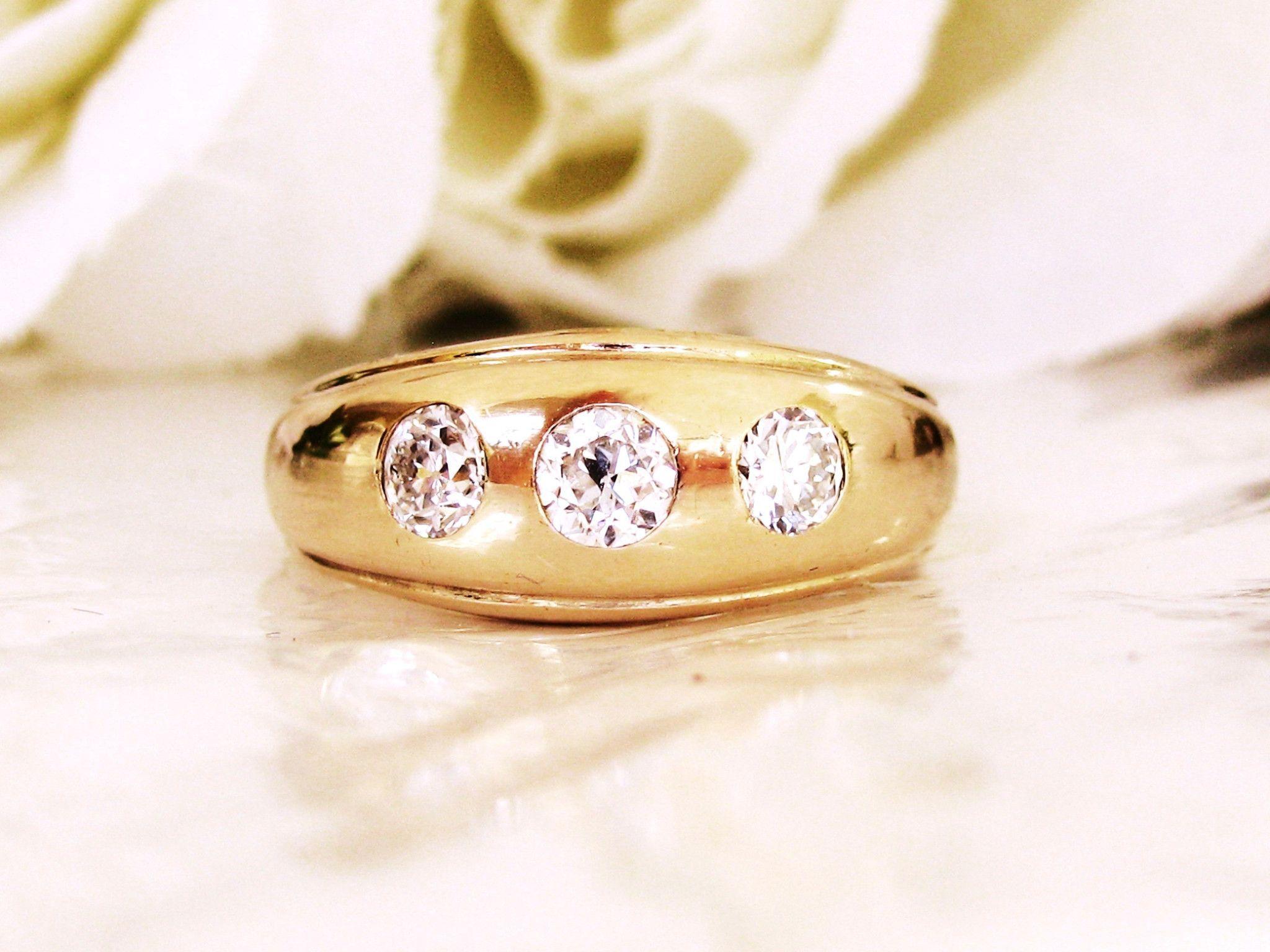 Antique Three Diamond Ring 0 56ct Old European Cut Diamond Men s
