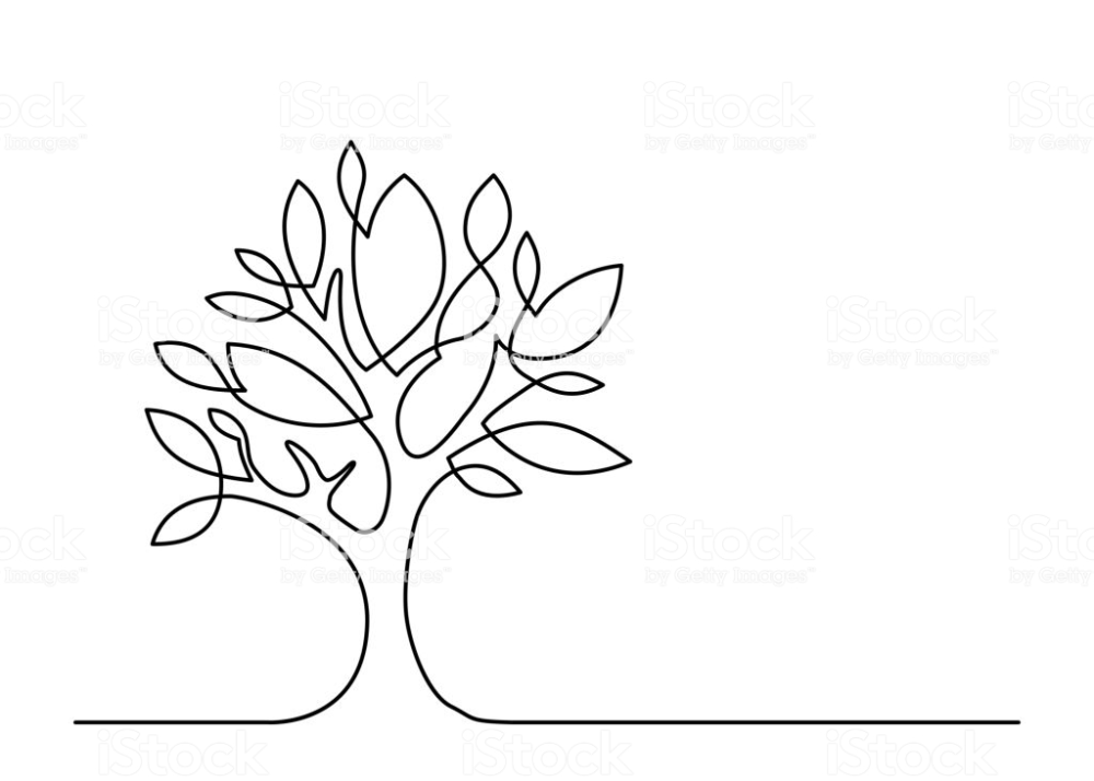 Continuous line drawing of tree on white background. Vector…