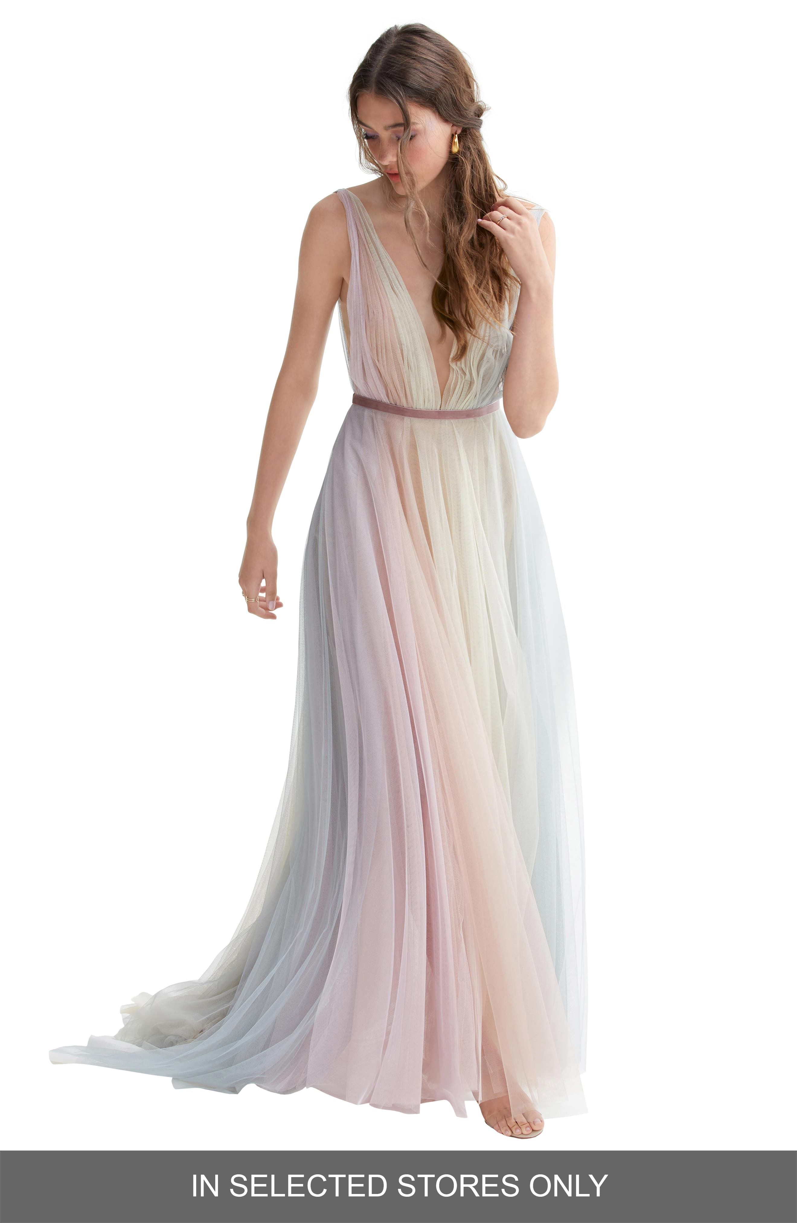 Women S Willowby Hutton Rainbow Tulle A Line Wedding Dress Size