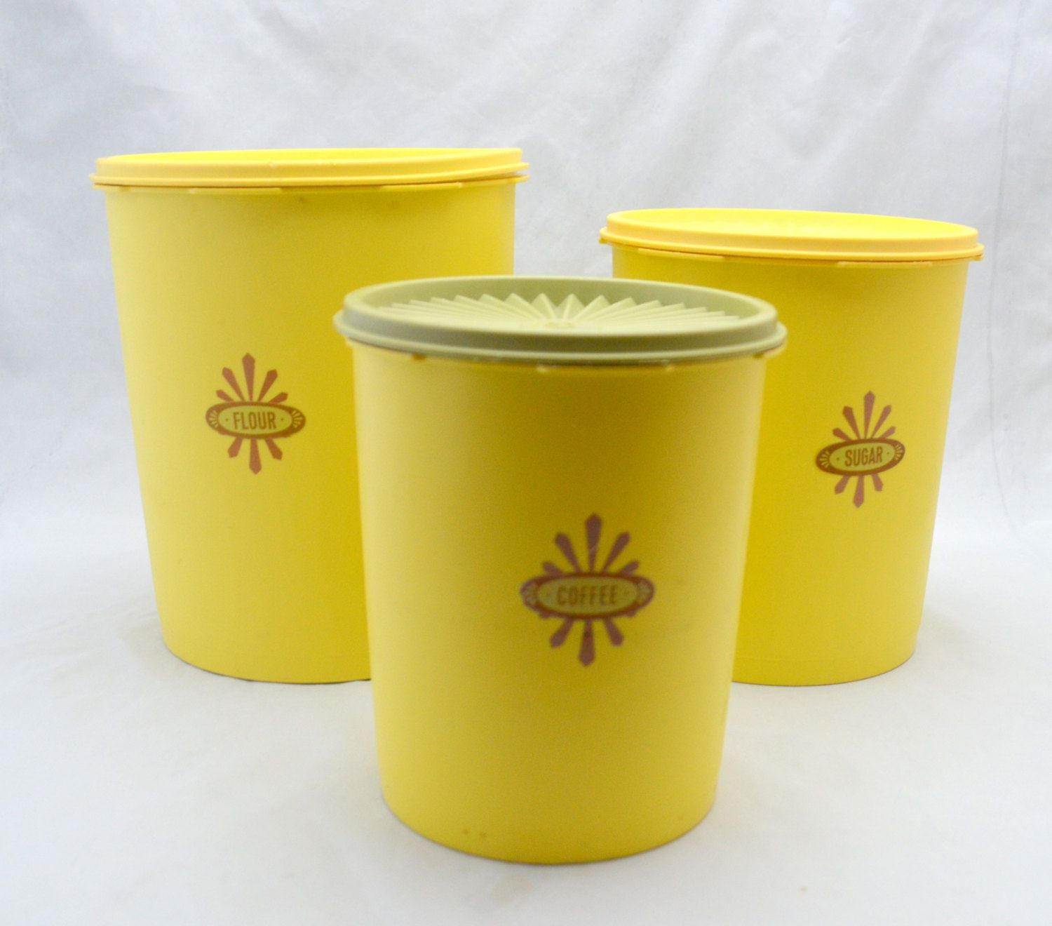 Vintage Tupperware Canister Set Harvest Gold Servalier Flour Etsy Vintage Tupperware Tupperware Canisters Tupperware