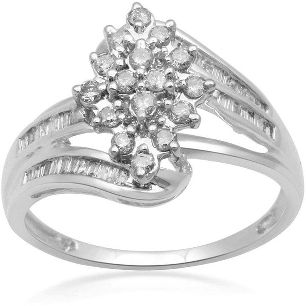 1/2 CT. T.W. Diamond 10K White Gold Cluster Ring (2.855 VEF) ❤ liked on Polyvore featuring jewelry, rings, white gold diamond ring, cluster ring, diamond jewelry, diamond jewellery and cluster jewelry