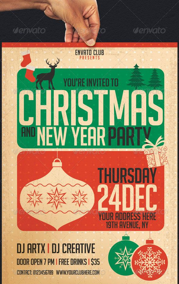 30 Christmas Holiday Psd Ai Flyer Templates Pixel Curse Christmas Party Invitation Template Party Invite Template Holiday Party Flyer