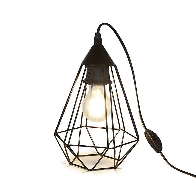 Tarbes Lampe A Poser Geometrique En Acier Noir L26 5cm Mobilier De Salon Meuble Deco Lampe