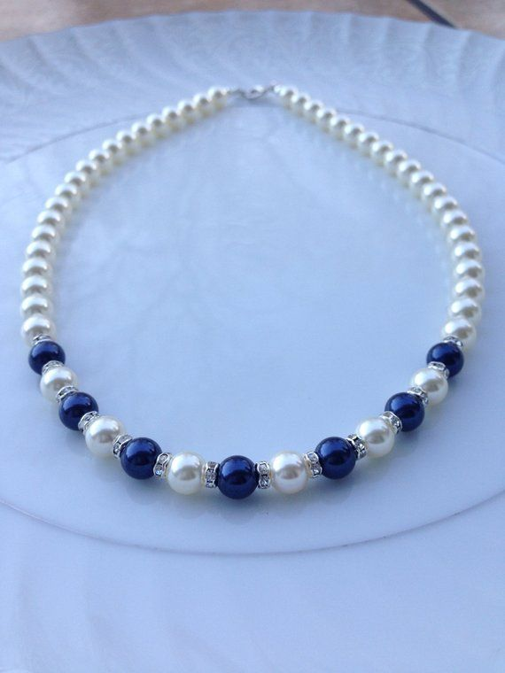 Navy Pearl Necklace - Bridal Pearl Jewelry - Navy Bridal Necklace - Pearl and Rhinestone Necklace, Swarovski Pearls, Pearl Bridal Jewelry