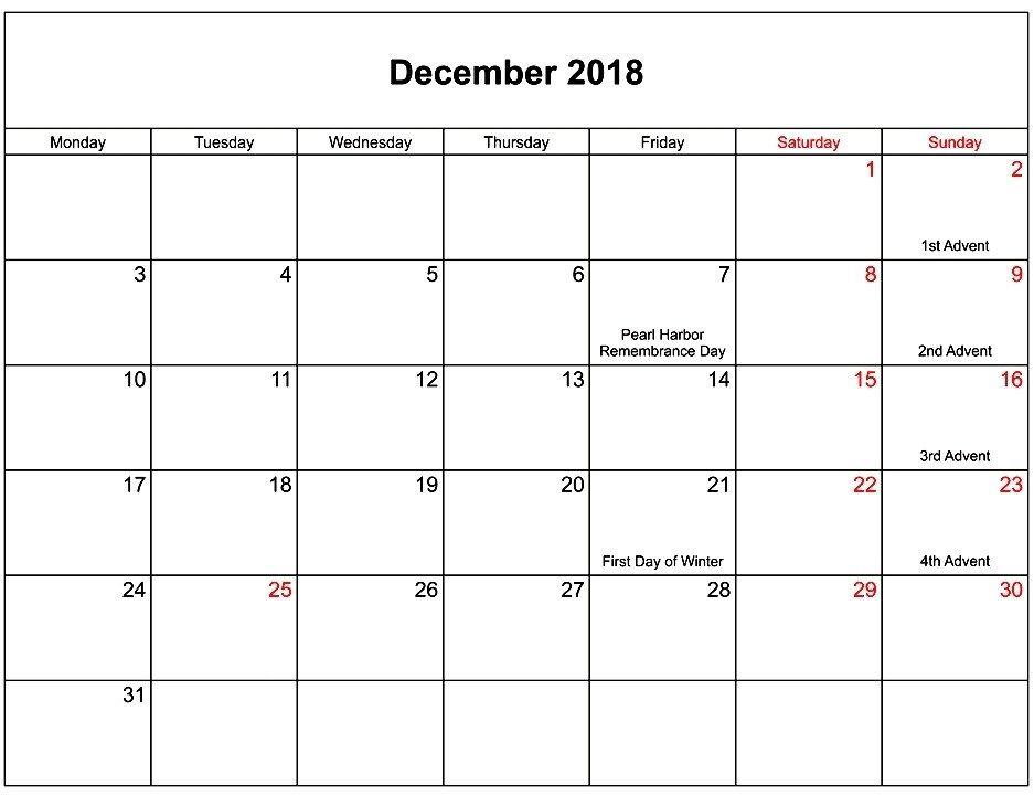 December 2018 Calendar With Holidays Printable Calendar Printables