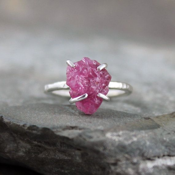 Raw Ruby Ring   Rough Uncut Red Ruby  Sterling by ASecondTime, $225.00