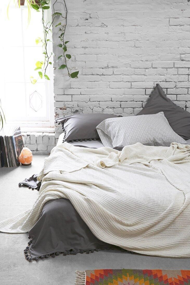 Grey And White Bedroom With Exposed White Brick Wall Casa