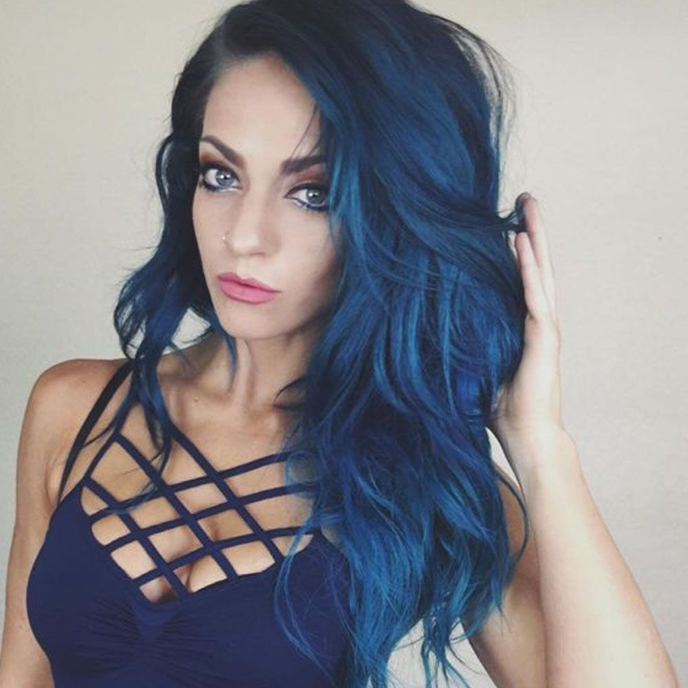 Photo of 22 Inch Heat Resistant Synthetic Blue Lace Front Wigs Mixed Color Dark Blue to Light Blue