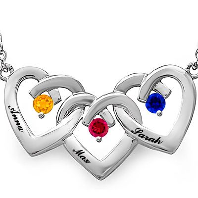 Mothers birthstone triple heart necklace in sterling silver 3 explore ring necklace heart necklaces and more aloadofball Images
