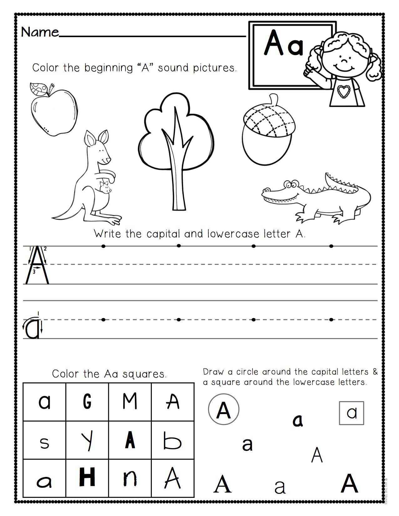 worksheet Alphabet Worksheet Set Letters Az a z letter worksheets set 3 and 3