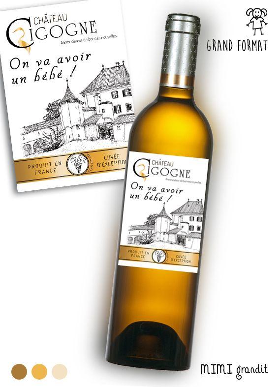 Annonce Grossesse Originale Grande étiquette Vin Château