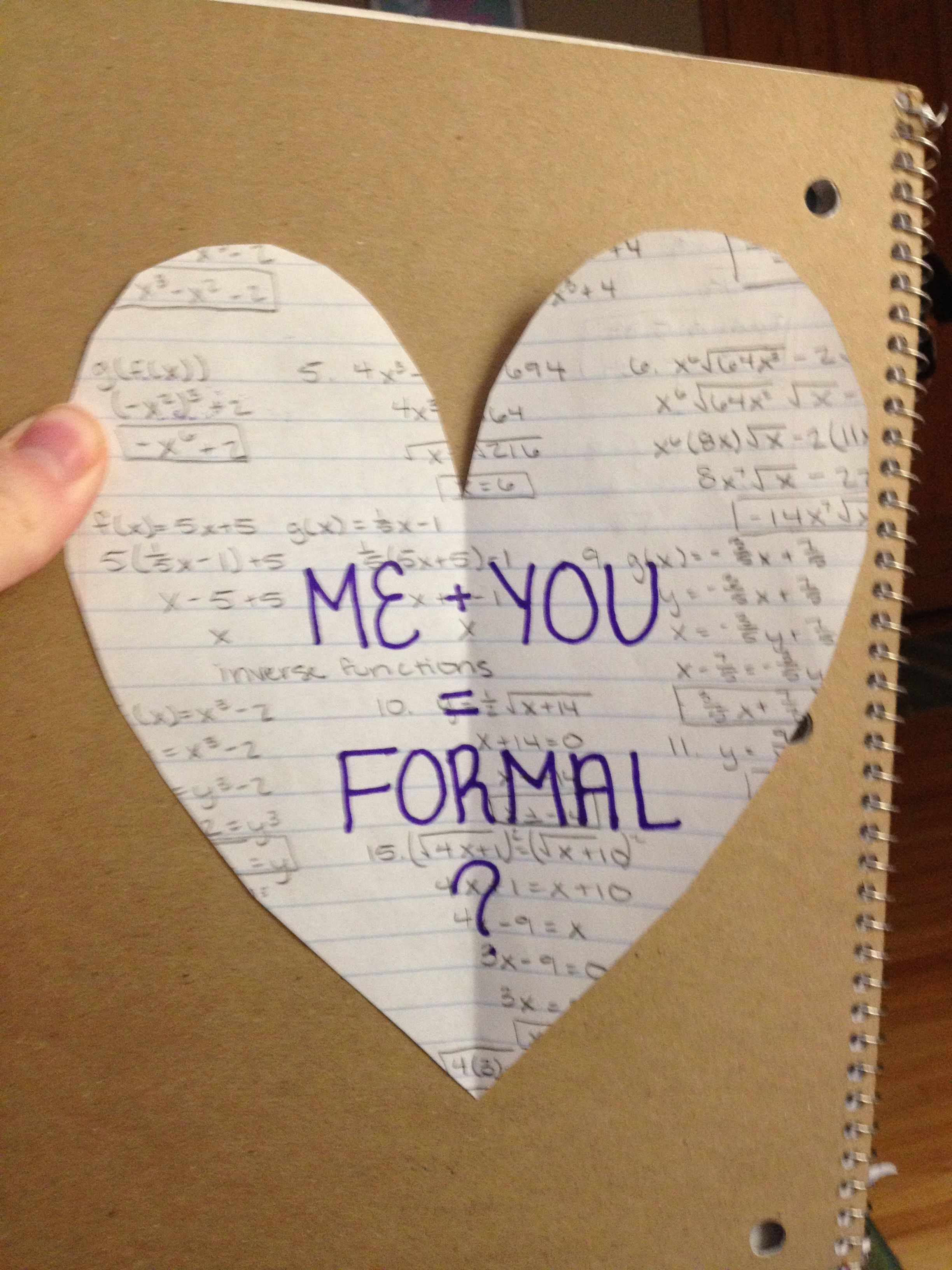 Written on old math homework. Cute way to ask someone to a