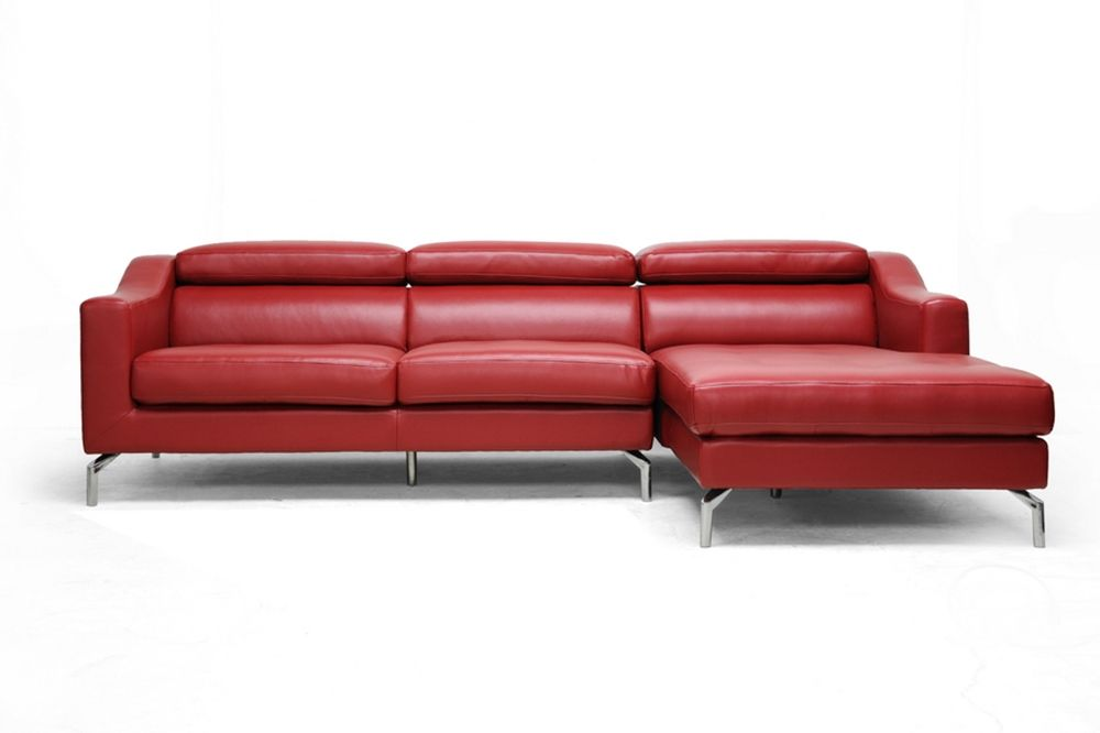 Levi Red Leather Modern Sectional Sofa | Affordable Modern Furniture In  Chicago