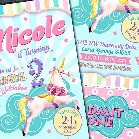 Unicorn Ticket Invitation Unicorn Printable Invitation  Unicornio