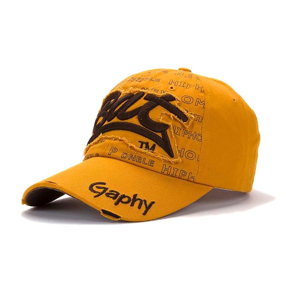 Snapback Hats Baseball Cap Hip Hop Fitted for Men Women Curved Brim Damage  orange khaki S eefd3c61b3