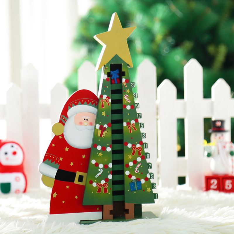 xmas gift mini table decoration wood christmas advent calendar christmas countdown snowman tree decoration best gift