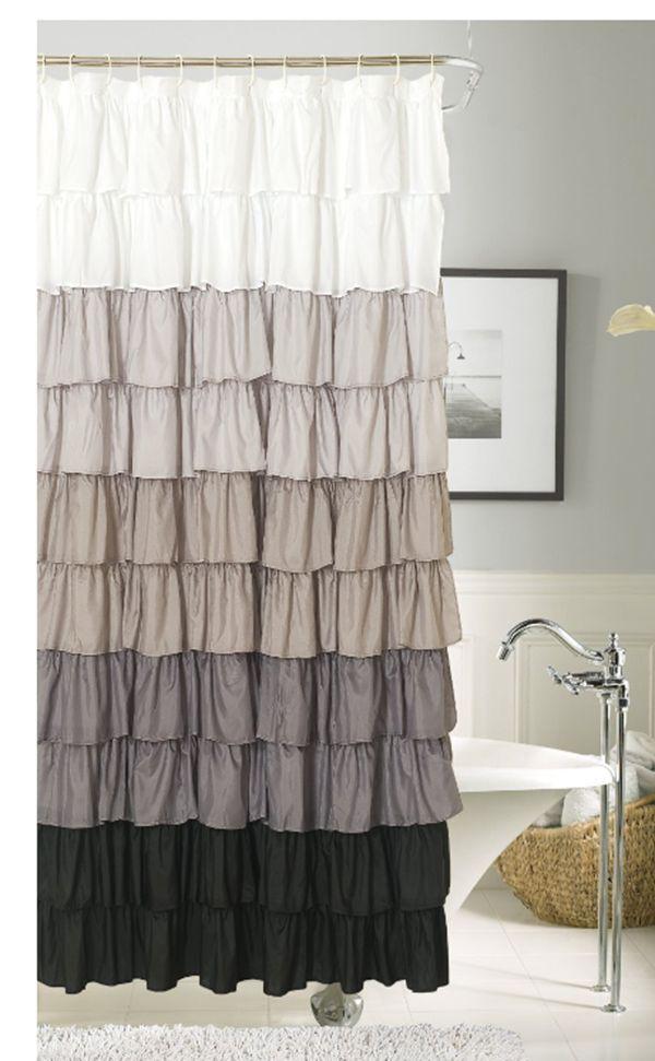 Dainty Home Flamenco Ruffled Shower Curtain 72 By Inch Black White