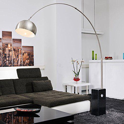 bogenlampe viviana marmor und edelstahl schwarz silber lampe stehlampe silber highlights. Black Bedroom Furniture Sets. Home Design Ideas