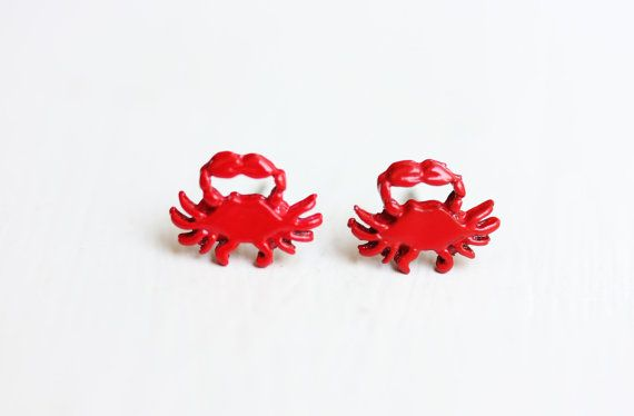 Red Crab Studs by diamentdesigns on Etsy, $14.00