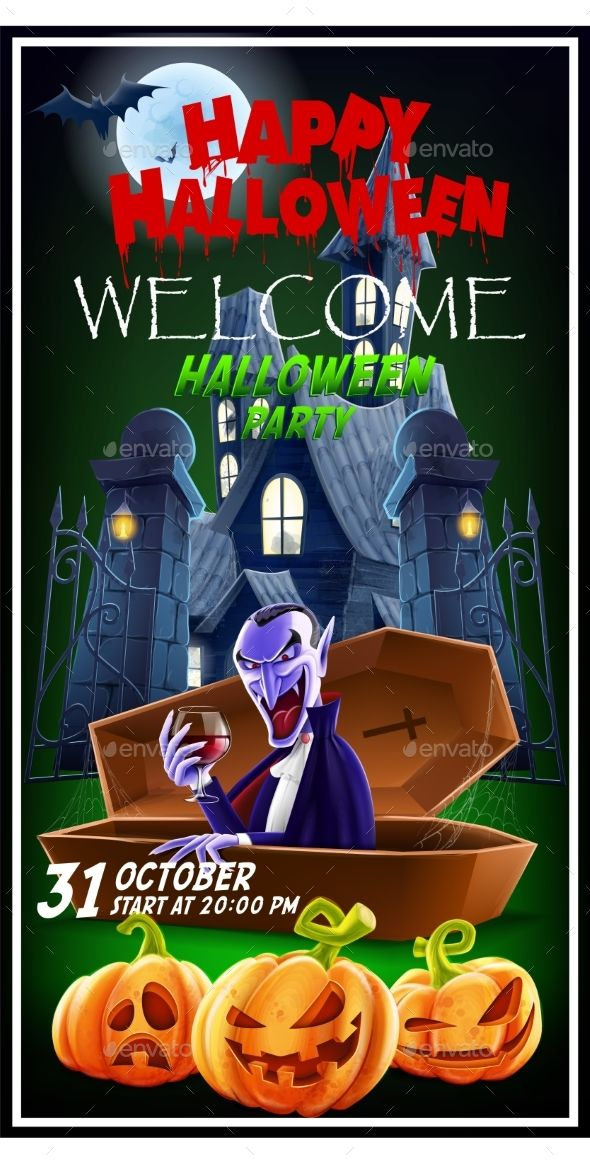 Halloween Invitation Flyer For a Party Vector illustration