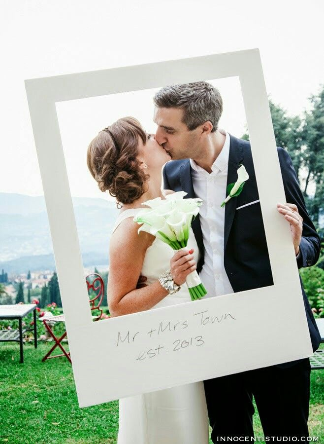 Giant Polaroid Frame At Wedding Photo Booth Destination Tuscany