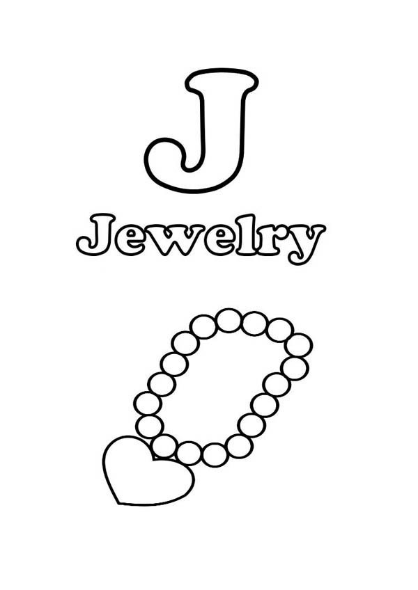 J Is For Jewelry Coloring Page Coloring Sky Coloring Pages Color Online Coloring