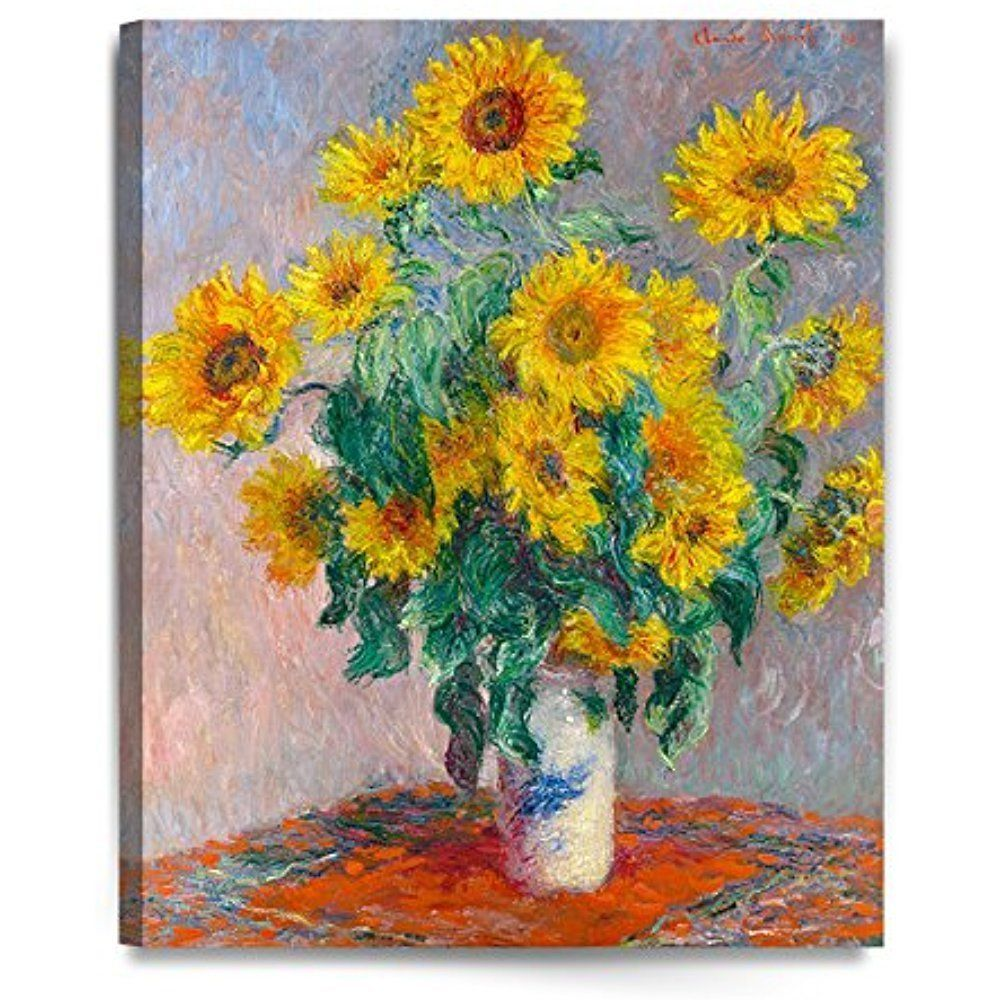 Framed] Monet Sunflowers Abstract Giclee Art Canvas Painting Prints ...