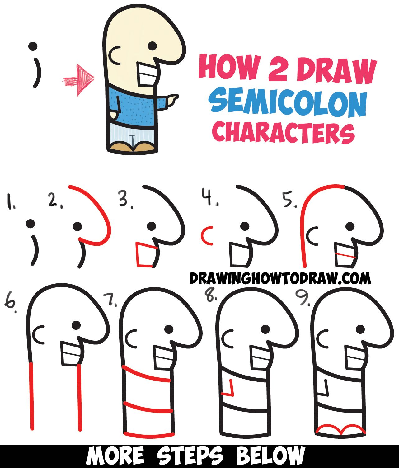 How To Draw Cute Cartoon Characters From Semicolons Easy Step By Step Drawing Tutorial For Kids How To Draw Step By Step Drawing Tutorials Easy Cartoon Drawings Cute Cartoon