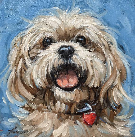 Shitzu Dog Portrait 5x5 Inch Original Whimsical Oil By Laveryart