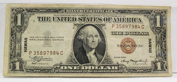 1935 1 One Dollar Bill Hawaii Silver Certificate circulated Currency ...