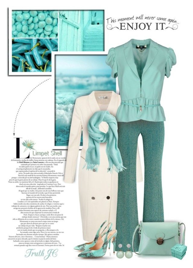 """Limpet Shell - Pantone 2016"" by truthjc ❤ liked on Polyvore featuring Alberta Ferretti, Elisabetta Franchi, Jerome C. Rousseau, women's clothing, women's fashion, women, female, woman, misses and juniors"