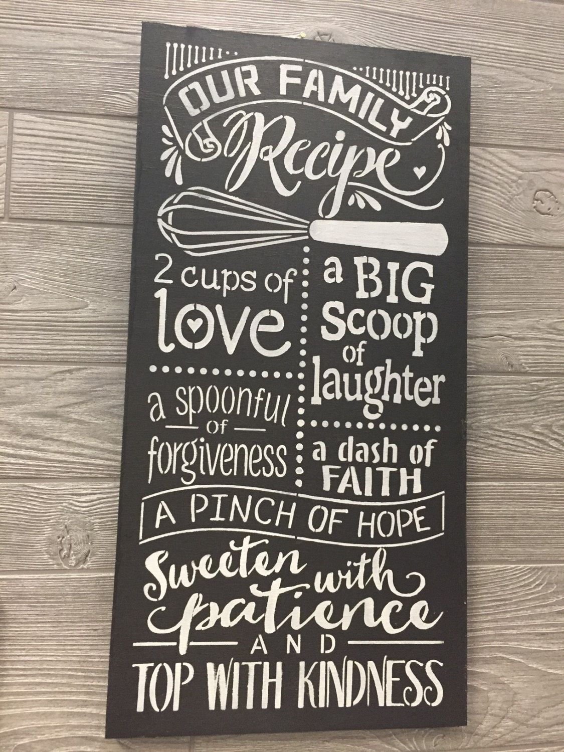 Our Family Recipe wood kitchen sign,  kitchen wall art, kitchen wood sign, wall art, family inspirational wood sign, wall art, kitchen decor by UpcycledWoodDesignUS on Etsy