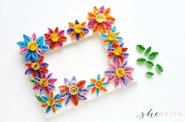 Easy Paper Quilling Craft Quilled Flower Frame Feeling Crafty