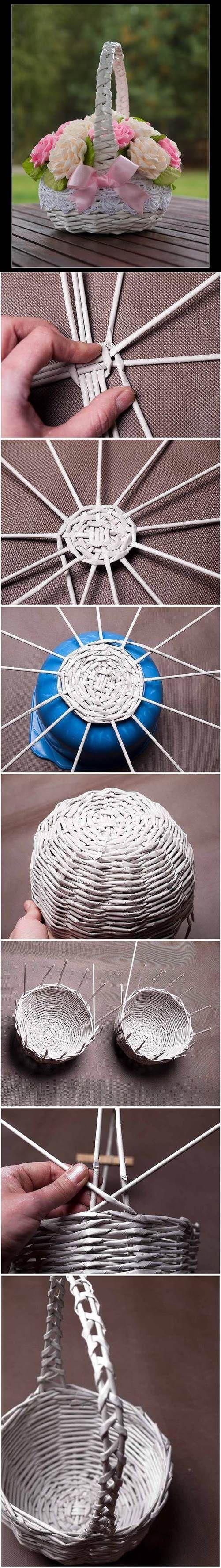 Periódico DIY Tubos Weaving Basket 2