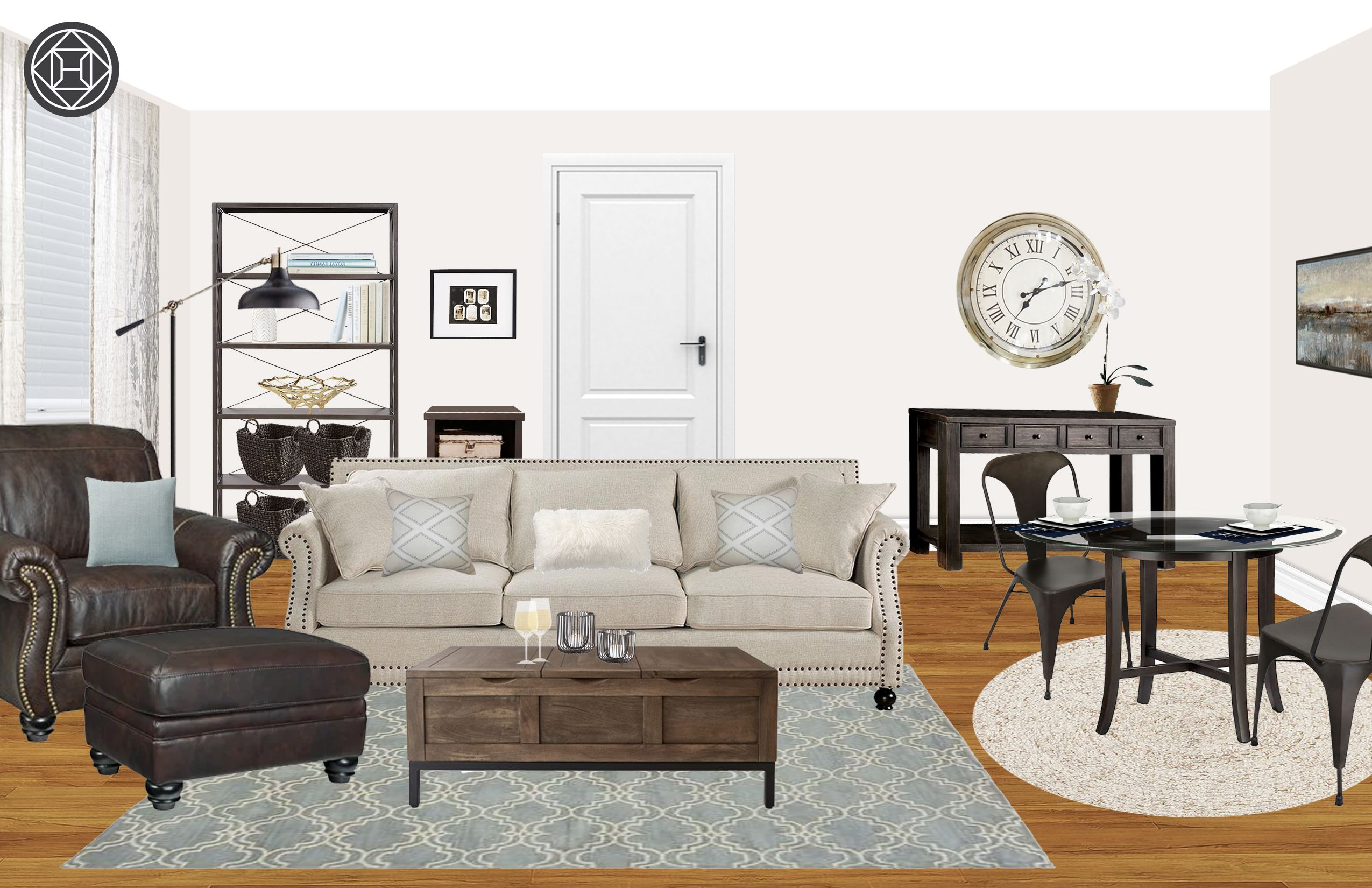 Classic industrial rustic living room by havenly