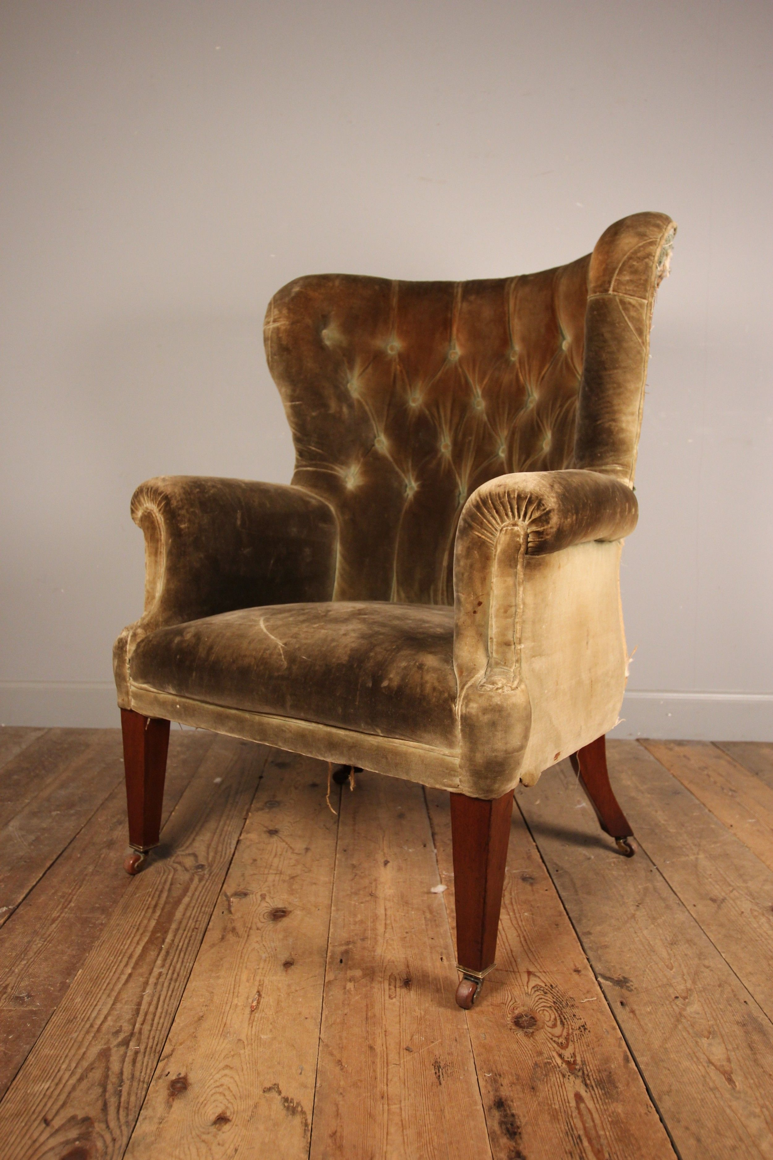LARGE 19TH C BARREL BACK WING CHAIR Chair, Wing chair