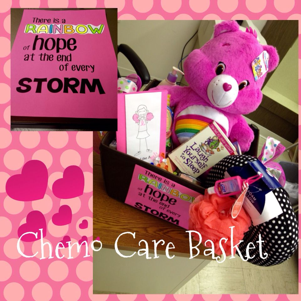 Chemo Care package our office put together for a coworker's sister.  Bubble Bath, Blanket, pillow, care bear for treatment day, hard candy, lotions, candles, make up, books, etc #fightlikeagirl