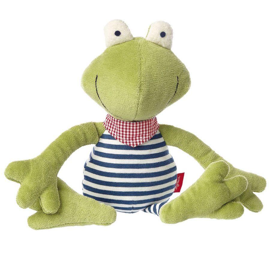 Spielfigur und Kuscheltier Frosch aus der Froschfamilie mit Schlenkerarmen- und Beinen zum phantasievollen Spielen und Kuscheln. Hergestellt aus Baumwolle aus kontrolliert biologischem Anbau und mit Schurwolle gefüllt.