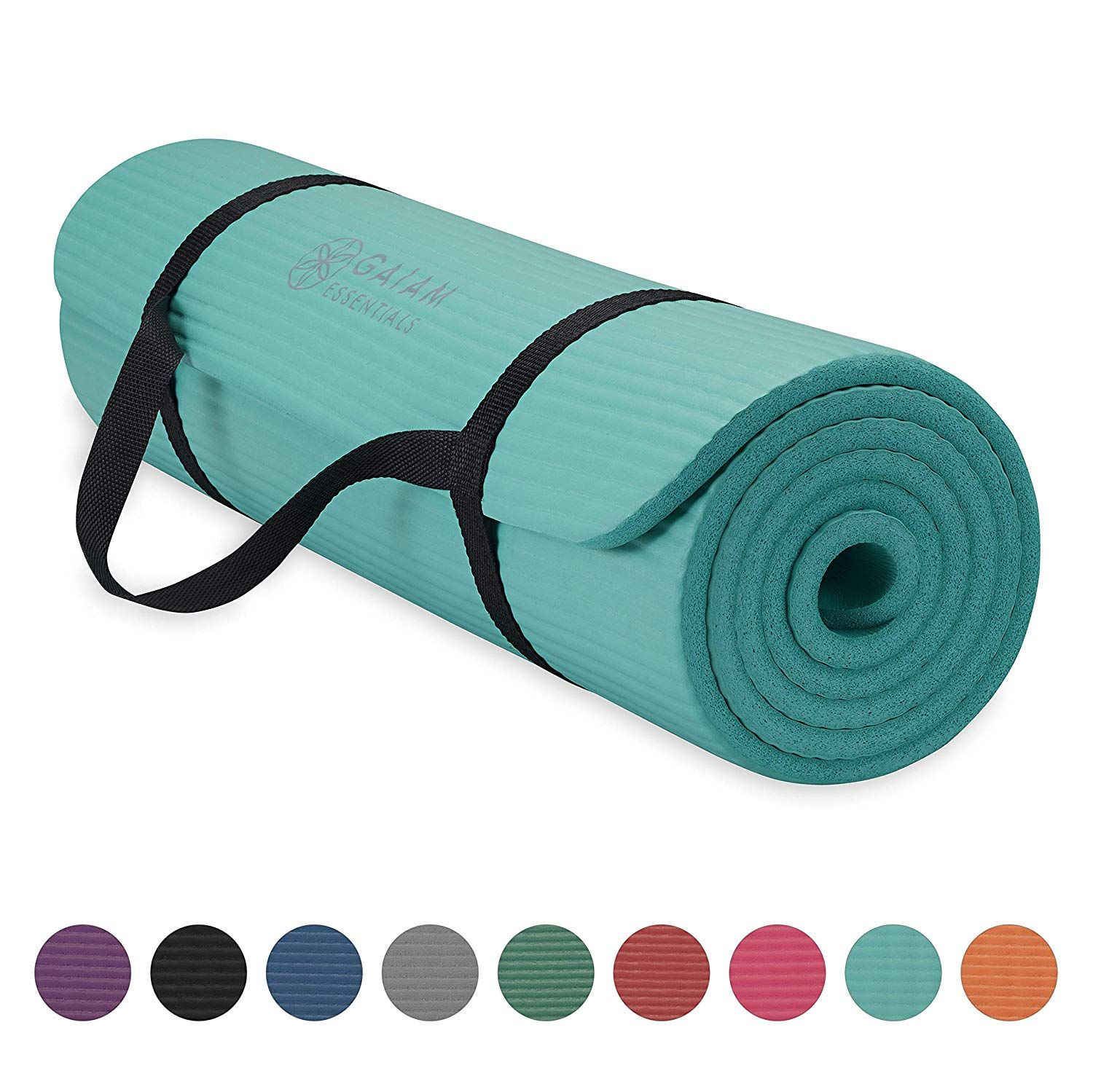 Gaiam Essentials Thick Yoga Mat Fitness And Exercise Mat With Easy Cinch Yoga Mat Carrier Strap Teal 72 L X 24 W In 2020 Thick Yoga Mats Yoga Mat Carrier Mat Exercises