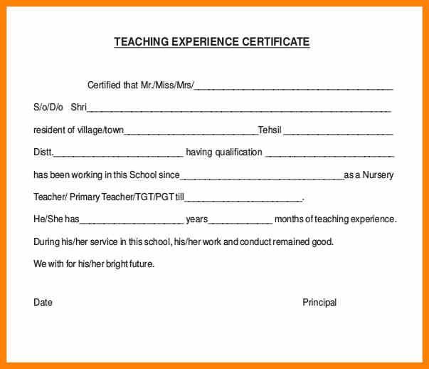 8  teaching experience certificate in ms word format