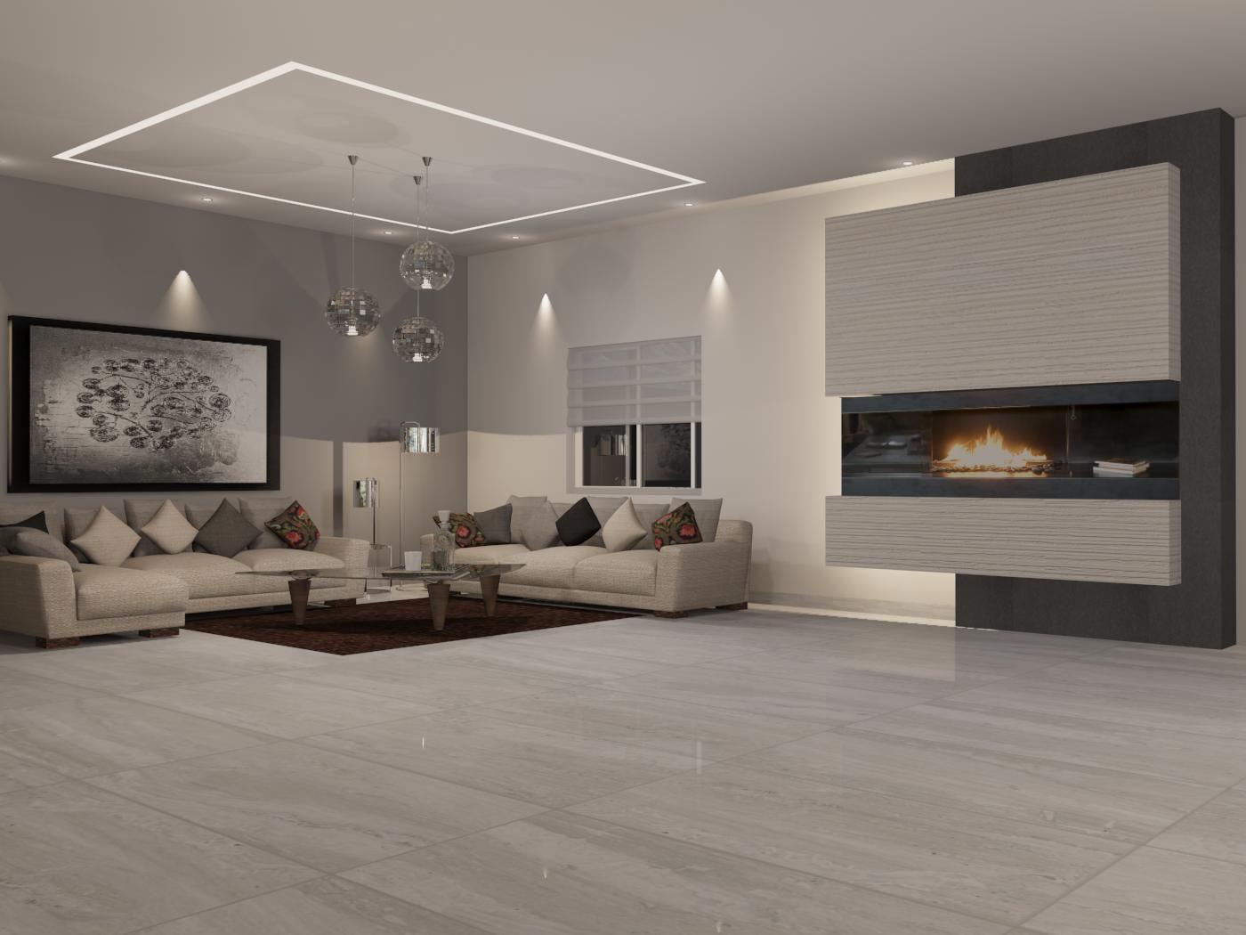 Sala de estilo contempor nteo materiales utilizados piso for Porcelanato color marmol