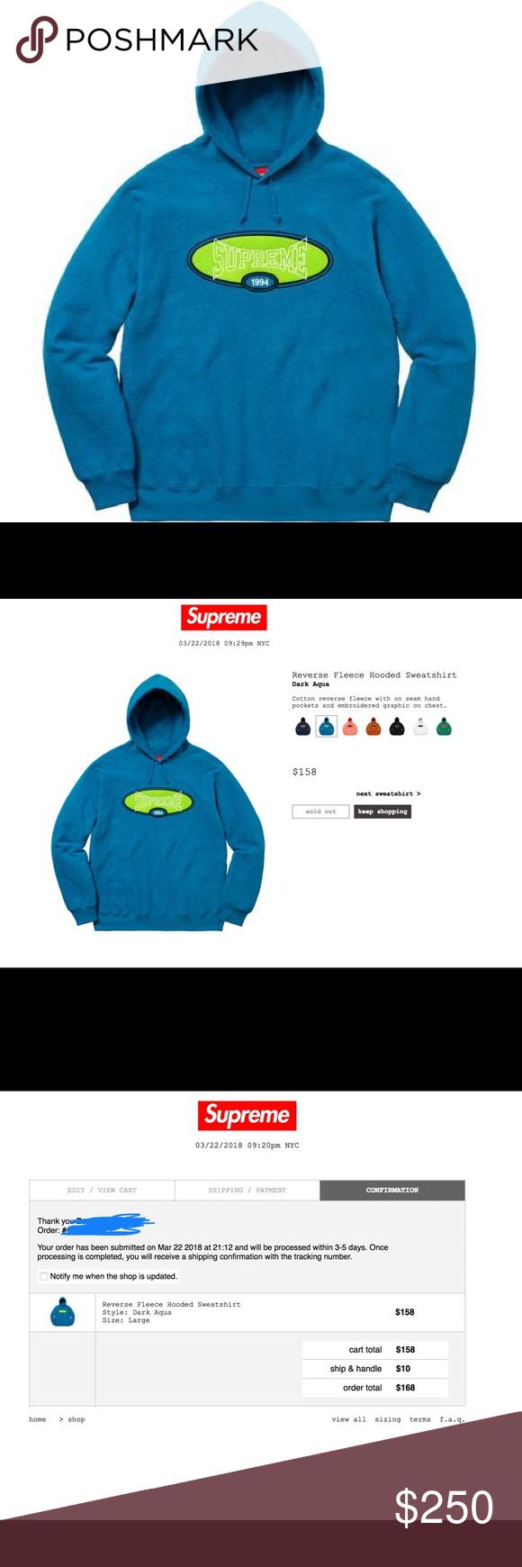 476af5444c65 Supreme Supreme Reverse Fleece Hooded Sweatshirt Supreme Reverse Fleece  Hooded Sweatshirt Style  Dark Aqua Size  XL Comes  bag and sticker!