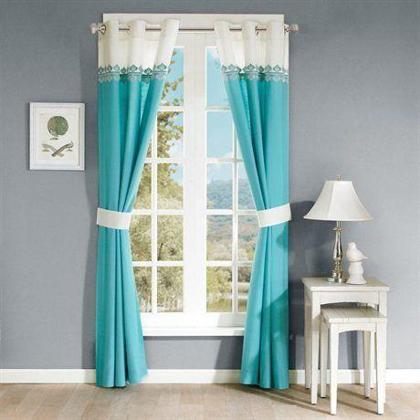 Madison Park Nisha Embroidered Window Curtain Teal