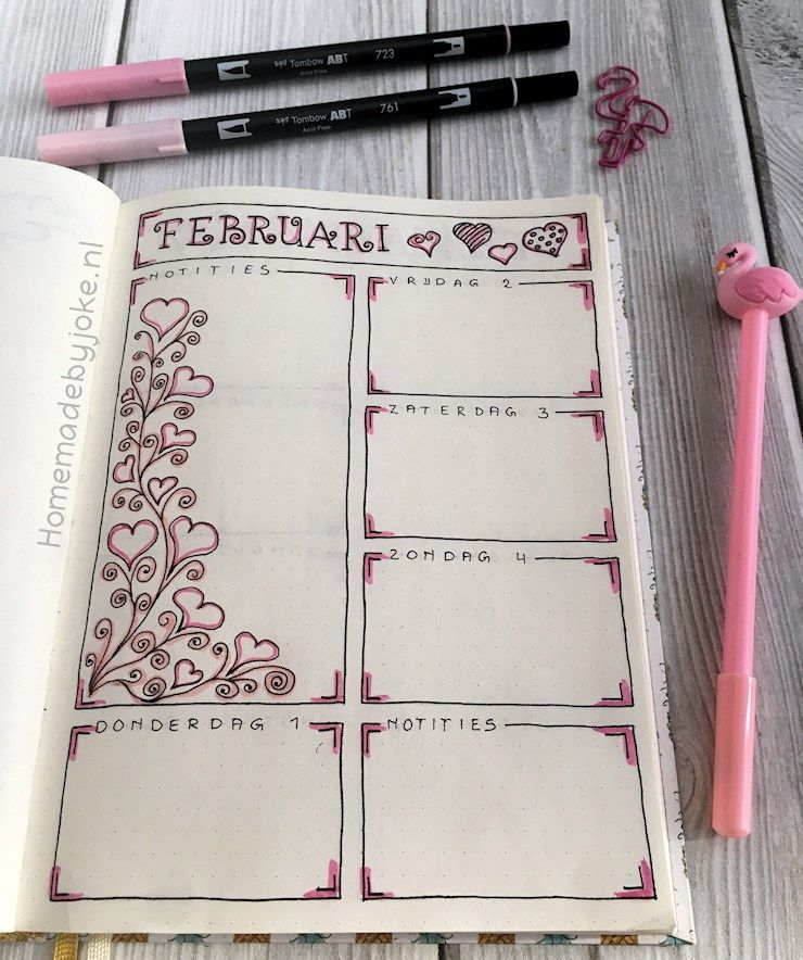 Bullet journal weekley spread - February / februari / 2018
