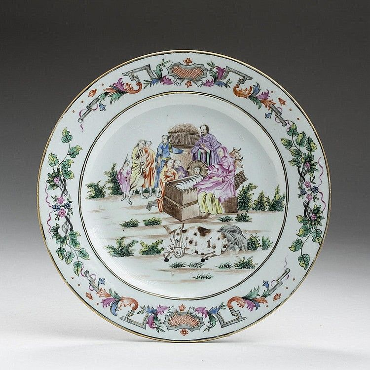 CHINESE EXPORT PORCELAIN FAMILLE ROSE RELIGIOUS-SUBJECT 'NATIVITY' PLATE, CIRCA 1740.