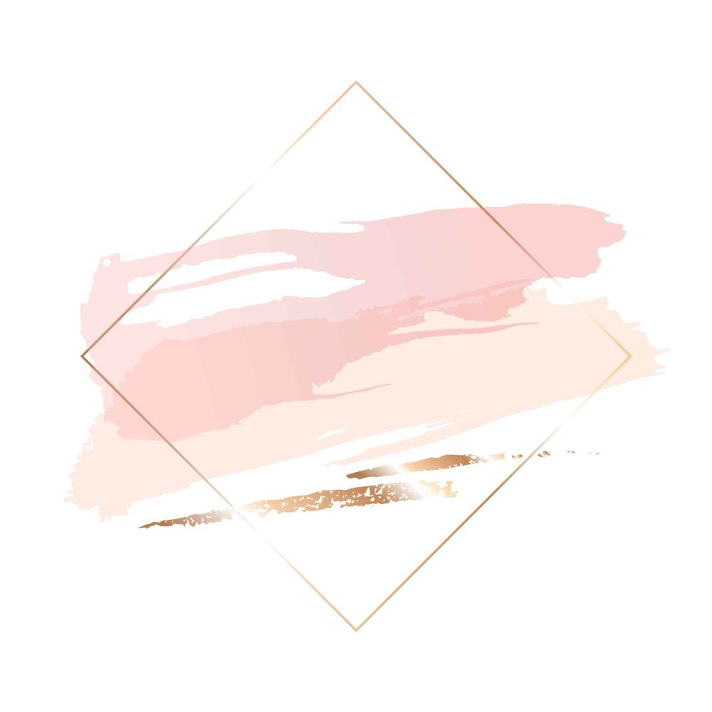 76a08617eb1b Rose gold brush strokes of different shapes in a contour golden square frame .