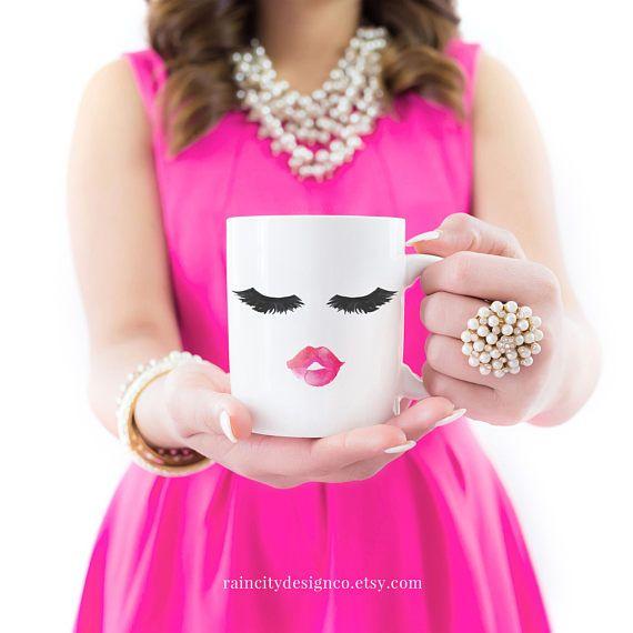 Eyelash Mug, Lips And Lashes Mug, Cute Mugs, Bridal Party