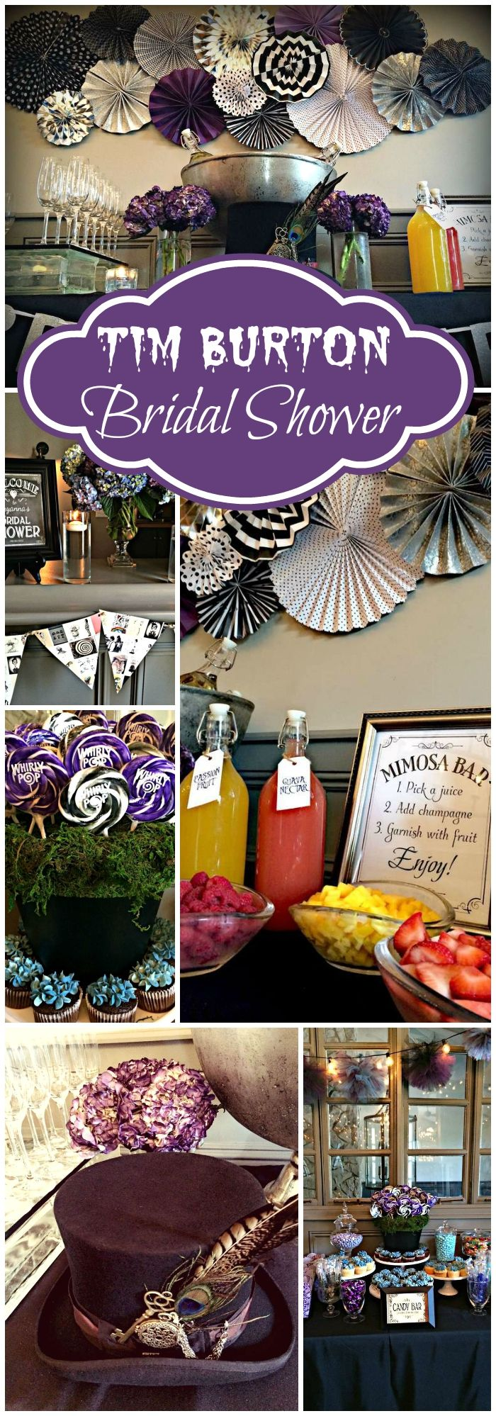 Black White Purple Blue Bridalwedding Shower Tim Burton