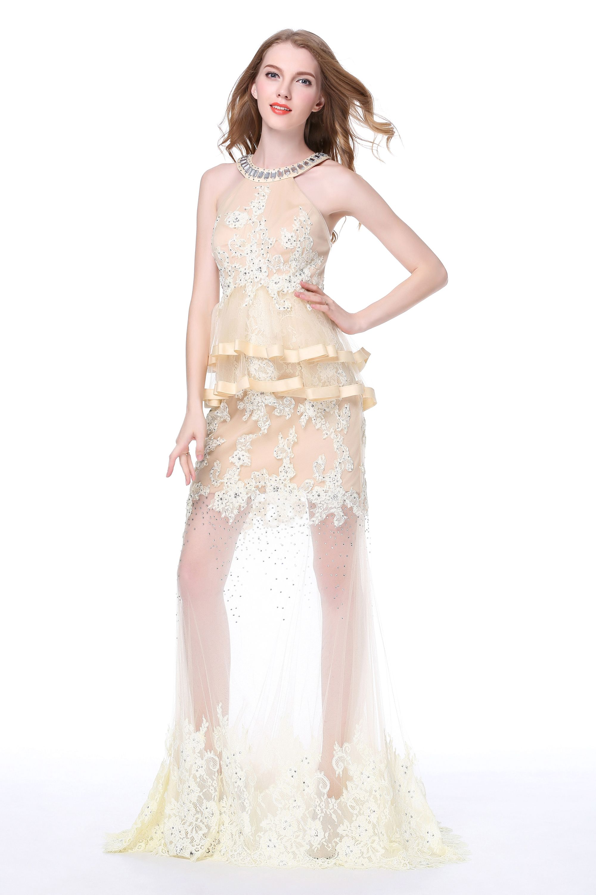 Fabric sleeveless applique u sexy lace wedding gown colorgolden